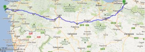 My route from St. Jean Pied de Port to Santiago and then onwards to Finisterre