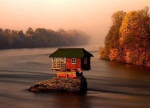 Tiny House in the Drina River in Serbia