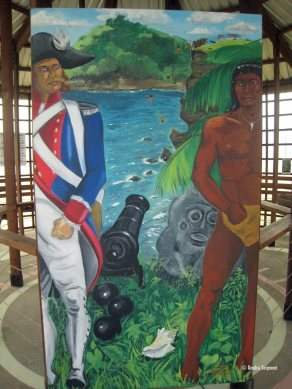Not Friends. Depiction of Caribs' Leap behind them.