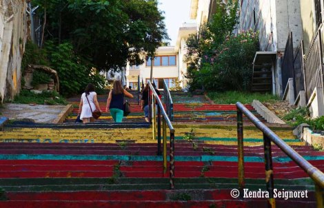 People on Colourful Stairs