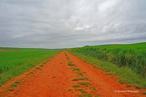 Leaving Castrojeriz - awesome red earth